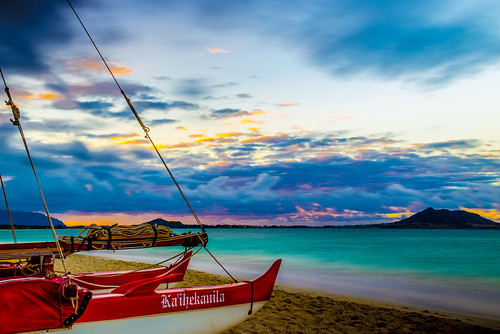 ocean park travel blue sunset vacation beach water landscape boat nikon oahu scenic landmark tourist canoe hawaiian tropical honolulu bluehour fullframe nikkor fx kailua lanikai d600 sailingcanoe islandscene
