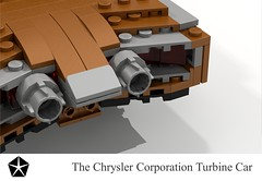 Chrysler Turbine Car - 1963 (lego911) Tags: auto classic car bronze model lego render retro gas corporation copper 1960s chrysler 69 challenge turbine cad lugnuts 1963 povray moc ldd summerof69 minland lego911