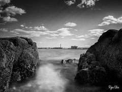 Mist II (Ryan Silva) Tags: ocean longexposure sea sky mist seascape beach nature water landscape blackwhite rocks olympus spray zuiko omd newbedford 1442 em5 9stop microfourthirds lightcraftworkshop