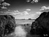 Mist II (Ryan Silva) Tags: ocean longexposure sea sky mist seascape beach nature water landscape blackwhite rocks olympus spray zuiko omd newbedford 1442 em5 9stop microfourthirds lightcraftworkshop