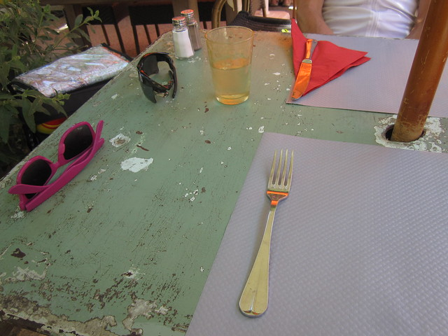 holiday france glass sunglasses table restaurant vacances napkin fork worn provence cutlery