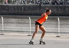 La patinadora (carlos_ar2000) Tags: street orange woman color colour sexy argentina girl beauty calle mujer buenosaires pretty chica dof gorgeous linda blonde rubia roller bella naranja puertomadero patinadora