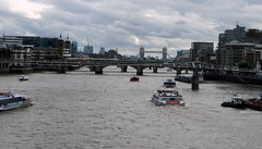 London Landscape (bimbler2009) Tags: bridge sky urban motion london tower water thames clouds boats movement milleniumbridge sonycybershot