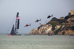 Helicopters chasing Oracle (lenswrangler) Tags: sanfrancisco race america boat oracle sailing yacht helicopter alcatraz americascup eurocopter as350 larryellison ac72 n461sa n549sa corporatehelicopters n574sa shieraviation lenswrangler