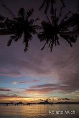 El Nido (Rolandito.) Tags: sunset mountain mountains beach silhouette palms asia south philippines el palm east limestone southeast karst nido pilipinas palawan philippinen