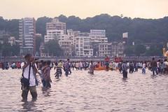 """A photographer, during """"Ganesh Visarjan"""", at Girgaum Chowpatty, Mumbai (ilovethirdplanet) Tags: sea people india festival maharashtra mumbai ind ganeshvisarjan2013 vision:beach=050"""
