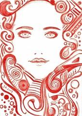 Aquarell Illustration J.M (EherAnders) Tags: art illustration kunst muster aquarell formen fashionillustration aquarellstift jasminmetzen2013aq