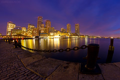 Break of Dawn over Boston Skyline and Fort Point Channel, Fan Pier Plaza South Boston (Greg DuBois Photography) Tags: ocean city longexposure nightphotography morning pink blue light sea sky urban usa seascape color reflection water colors boston skyline architecture night clouds canon buildings boats photography dawn lights harbor pier early seaside cool twilight warm downtown cityscape skyscrapers purple unitedstates yacht massachusetts newengland wideangle atlantic fisheye chain cobblestone wharf citylights pilings bluehour 8mm southboston fortpointchannel cityskyline bostonskyline bostonharbor downtownboston samyang bostonarchitecture seaportdistrict nauticalchain fanpierplaza gregdubois gregduboisphotography