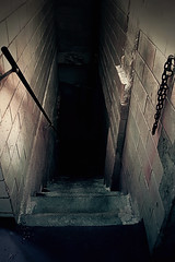TCM - Slaughterhouse #4 (pmistric) Tags: old building brick abandoned water stain vertical metal wall mystery architecture stairs dark underground droplets chains drops trapped scary blood kill alone moody escape floor killing ominous foreboding metallic fear bricks steps basement entrance dramatic rail kidnapping nobody dungeon gritty structure dirty stairway creepy stained chain hidden indoors crime slaughter worn mysterious horror murder violence inside nightmare railing hiding cellar deserted trap atmospheric abduction slaughterhouse depths kidnap fright hideout thriller desolated escaping nightmarish