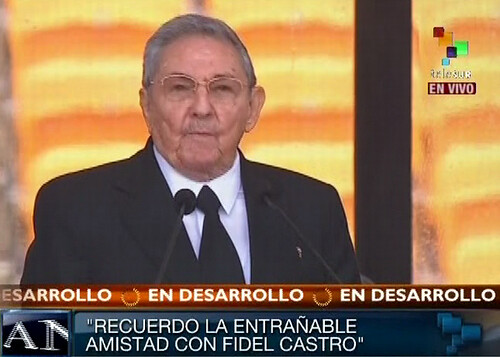 Republic of Cuba President Raul Castro speaking at the memorial services of former President Nelson Mandela. The services were held on December 10, 2013.