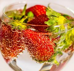 Strawberries (Heathcliffe2) Tags: food water berries drink strawberries bubbles fizz