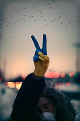 Peace For Ukraine. (| Jared Tyler) Tags: street winter light boy sunset portrait sky cold art love sign self canon fur photography golden photo war paint mood moody peace hand traffic emotion bokeh flag protest january ukraine hour hood emotional conceptual jaredtyler 5dmarkii artistsontumblr jaredinthebox