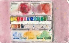 Watercolor Black Box (Aurelie Morin) Tags: moleskine watercolor sketch drawing aquarelle sketchbook dessin sketchkit
