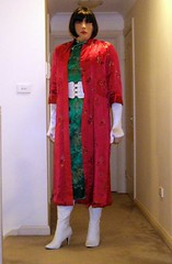 Jaded (2) (Furre Ausse) Tags: red white green asian belt long dress boots coat chinese gloves oriental satin cheongsam