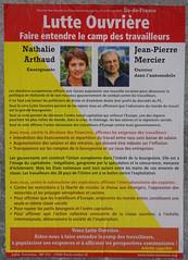 Lutte ouvrire - Nathalie Arthaud (emmanuelsaussieraffiches) Tags: poster political politique affiche lutteouvrire