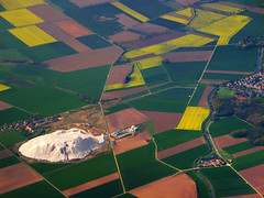 Aerial view of potash works near Hildesheim, Germany (Batikart) Tags: travel trees vacation brown holiday green nature water colors lines yellow rural canon river germany landscape geotagged deutschland countryside spring holidays europa europe quilt natural mosaic patterns urlaub curves natur flight felder aerialview rape fromabove april fields agriculture patchwork ursula fluss landschaft bume raps muster vacanze canola frhling hildesheim luftbild sander g11 mosaik 2014 flug niedersachsen lowersaxony frhjahr linien giesen batikart luftbildaufnahme canonpowershotg11