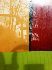 Colours, reflections and shadows (Steve Taylor (Photography)) Tags: city shadow red newzealand christchurch orange black colour reflection green window glass canterbury cardboard nz southisland cbd rectangle