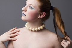 Amber (austinspace) Tags: blue portrait woman studio nude necklace washington model spokane makeup redhead topless pearl alienbees