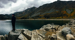 (emmeffess) Tags: california panorama lake mountains unitedstates cloudy hiking bishop lakesabrina iphoneography