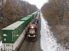 Two Trains Moving West / NS Chicago Line (codeeightythree) Tags: railroad chicago race train ns norfolk indiana line southern prairie coil rolling geep emd