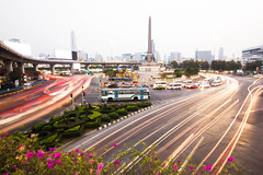 Victory Monument (KParchYVR) Tags: road street monument thailand lights movement long exposure traffic bangkok victory round about