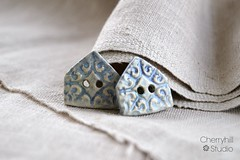 Stoneware House Buttons in Stormy Blue (Cherryhill Studio) Tags: ceramic buttons glaze stoneware oxides ceramichouse ceramicbuttons claybuttons ceramicclay housebuttons