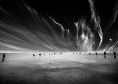 Sandsend Beach, North Yorkshire (Richard Walker Photography) Tags: ocean longexposure sea sky blackandwhite seascape beach clouds landscape coast cirrus groins landscapephotography