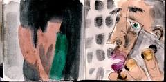 hatte sie ihn angesehen oder war sie ein Phantom oder war er eines, verloren gegangen in den Tiefen seines Telefoncomputers (raumoberbayern) Tags: city winter bus fall pencil paper munich mnchen landscape herbst tram sketchbook stadt papier landschaft bleistift robbbilder skizzenbuch strasenbahn
