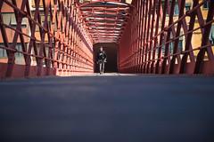 Pont de les Peixeteries velles (aDpPhoto) Tags: street city bridge red people colors puente persona rojo nikon cityscape ciudad eiffel catalonia girona d750 prespectiva peixeteriesvelles adpphotography
