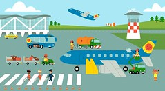 0014 (garethrobinsonillustration) Tags: illustration airplane airport aeroplane luggage stewardess runway pilot controltower
