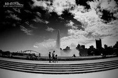 The Tip Of Pittsburgh (Hi-Fi Fotos) Tags: park city sky urban blackandwhite bw fountain skyline clouds point landscape mono nikon noir pittsburgh wide saturday tokina leisure d5000 1120mm hallewell hififotos