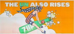 "1970 7Up UnCola 21'x10' ""The Un Also Rises"" vintage billboard poster by Barry Zaid #7Upvintage #GirlRidingBottle (btreat) Tags: sexy vintage poster patriotic retro billboard 1970 7up uncola barryzaid 7upbillboard uncolabillboard theunalsorises vintagebillboardposter 7upvintage girlridingbottle"