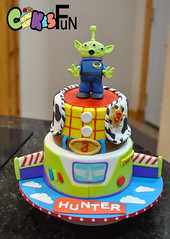 Toy Story Cake (bsheridan1959) Tags: toystorycake woody buzlightyear kidscake birthdaycake fondant cowprint clouds vest sheriffsbadge