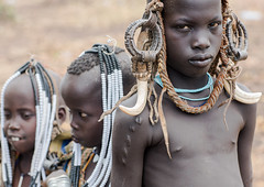 Mursi tribe children with adornments on the heads, Omo valley, Mago park, Ethiopia (Eric Lafforgue) Tags: africa portrait people color boys childhood horizontal children outdoors native african ivory jewelry tribal ornament ornaments blackpeople omovalley tradition ethiopia tribe ethnic scar bizarre mursi scarification jewel ethnicity tusk adornment hornofafrica ethnology ethiopian nomadic eastafrica 3people abyssinia realpeople threepeople blackskin adornments loweromovalley waistup africanethnicity indigenousculture africanculture animalteeth hippoteeth southethiopia murzu magopark blackethnicity ethio162224