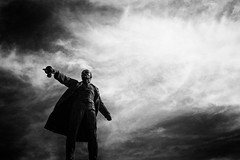 Back to the Future (Indigo_Flow) Tags: lenin sky blackandwhite bw statue clouds stpetersburg lights communism