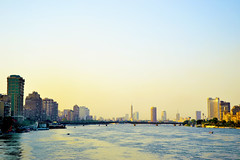Cairo in the afternoon -    ( ) Tags: bridge blue sky tower egypt nile cairo