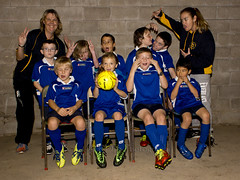 2016 Thames Junior Football Club 07 (C & R Driver-Burgess) Tags: blue girls silly boys smile yellow socks wall kids children concrete stand coach uniform boots soccer young shirts sit block shorts manager