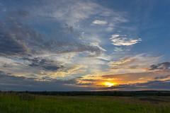 Intense Sunrise (thefisch1) Tags: morning blue sunset sky cloud color green grass sunrise interesting intense nikon colorful hills pasture kansas prairie nikkor flint bluestem