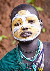 Suri Woman, Ethiopia (Rod Waddington) Tags: africa portrait people woman face female beads outdoor african painted traditional tribal afrika omovalley ethiopia tribe ethnic ethnicity afrique ethiopian omo thiopien suri etiopia ethiopie etiopian kibish