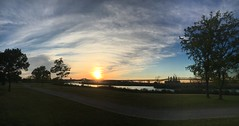 iPhone 6s sweep panorama: New Jersey Sunset (unedited image) (norlandcruz74) Tags: sweep panning bridge skyway pulaski pinoy pilipino filipino pointofview pov perspective composition framing colors sky cruz norland 6s iphone panorama pano nj jerseycity newjersey lincolnpark sunset