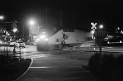 STOP (CentralILRailfan) Tags: road street railroad film up station night train 35mm dark illinois downtown minolta pacific f14 union railway x il 1600 uptown stop amtrak lincoln unionpacific push service hp5 passenger normal bloomington pushed ge 58mm ilford 307 uprr rokkor p42 amtk rokkorx minolta58mmf14