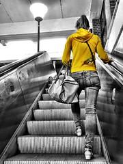 The traveling woman (ANBerlin) Tags: travel people urban bw woman white black color reflection berlin cute apple girl station yellow female night stairs germany bag subway deutschland blackwhite metro outdoor femme escalator platform railway bahnhof treppe gelb human german ubahn infrastructure sw traveling splash frau farbe reflexion fille accent schwarz hdr extraordinary eastberlin reise bahnsteig reflektion selective infrastruktur rolltreppe iphone nachts tasche marzahn weis spritzer selektion stdtisch singlecolor passanten hellersdorf drausen akzent keycolor iphotography anb030 iphonography ausergewhnlich iphone6s 6splus schlsselfarbe
