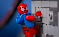Scarlet Spider (Reiterlied) Tags: macro comics lens toy photography prime spider nikon lego spiderman sigma minifig dslr marvel minifigure 105mm scarletspider d5200 legography stuckinplastic reiterlied