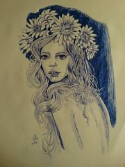 10ADORNOFLORAL (Roswitha texera) Tags: flores mujer retrato dibujo bolgrafo realista hiperrealista