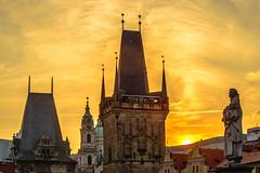 Sunset over the Prague (rvtn) Tags: sunset tower architecture prague czechrepublic charlesbridge ciy