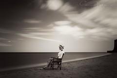 Contemplation B&W (corrine8) Tags: longexposure sea portrait sun june sand sophie naturallight blueskies margate vikingbay 2016