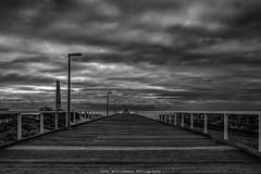 Largs Bay Jetty BW (johnwilliamson4) Tags: adelaide clouds jetty largs monochrome outdoor southaustralia water australia