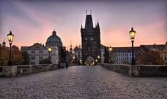 Sunrise, Charles Bridge, Prague, Czech Republic (ott.geoffrey) Tags: morning bridge tower lamp sunrise purple prague gothic landmark cobblestone czechrepublic charlesbridge