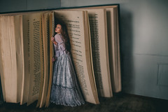 2/52 The Book Collector (AmyFaithPhoto) Tags: conceptual book model redhead workshop studio giant large inside words girl dress vintage story fairy tale books library old hiding wood dark moody painterly shy