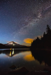 Milky Way over Mt Hood (Brook Terwilliger) Tags: longexposure reflection night oregon stars mthood brook starry milkyway trilliumlake terwilliger